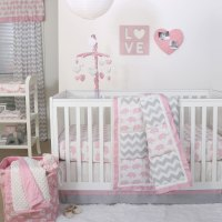 Pink Elephant and Grey Chevron Patchwork 3 Piece Crib ...