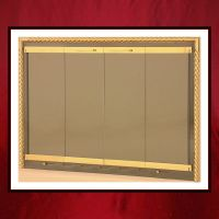 Brass Fireplace Door with Rope Overlay - Northshore Fireplace