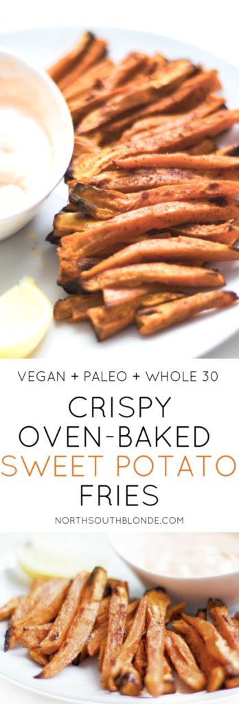 These crispy, oven-baked sweet potato fries are the perfect healthy snack, appetizer, or side dish that's super easy to make and involves only five ingredients! Flavourful, healthy, and filling. Great for weight loss, low carb, dairy free, and full of vitamins. Paleo | Whole 30 | Vegan | Vegetarian | Quick and Easy | Oven-Baked | Crispy | 30 Minutes | Healthy Snacks | Vegan snacks | Appetizers | French Fries | Good for you | Low Carb | Low cal | Low Calorie | Low Fat |