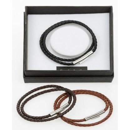 Men Leather Cross Over Bracelet