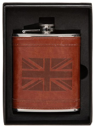 Hip Flask Tan Union Jack 6oz