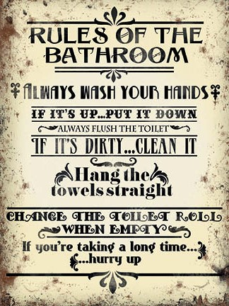 'Bathroom Rules' Metal Wall Sign