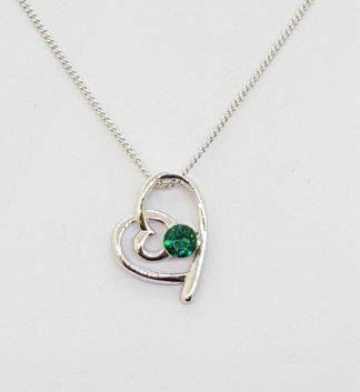 Heart Birthstone Necklace - Peridot