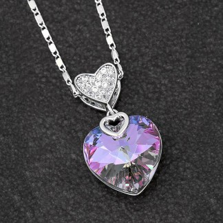 Swarovski Heart Necklace Lilac