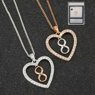 Two Tone Infinity Heart Pendant