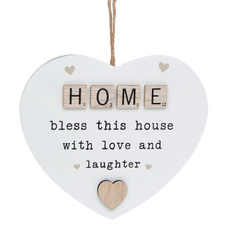 Scrabble Sentiment Heart Plaque - Home