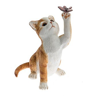Cute Kittens with Butterfly Figurines Ginger