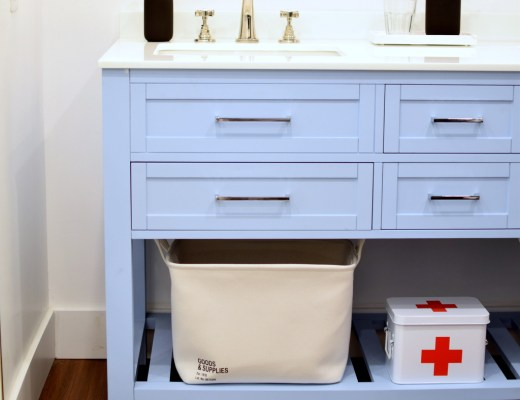 Blue Bathroom Vanity with wood floors and black IKEA NISSEDAL mirror