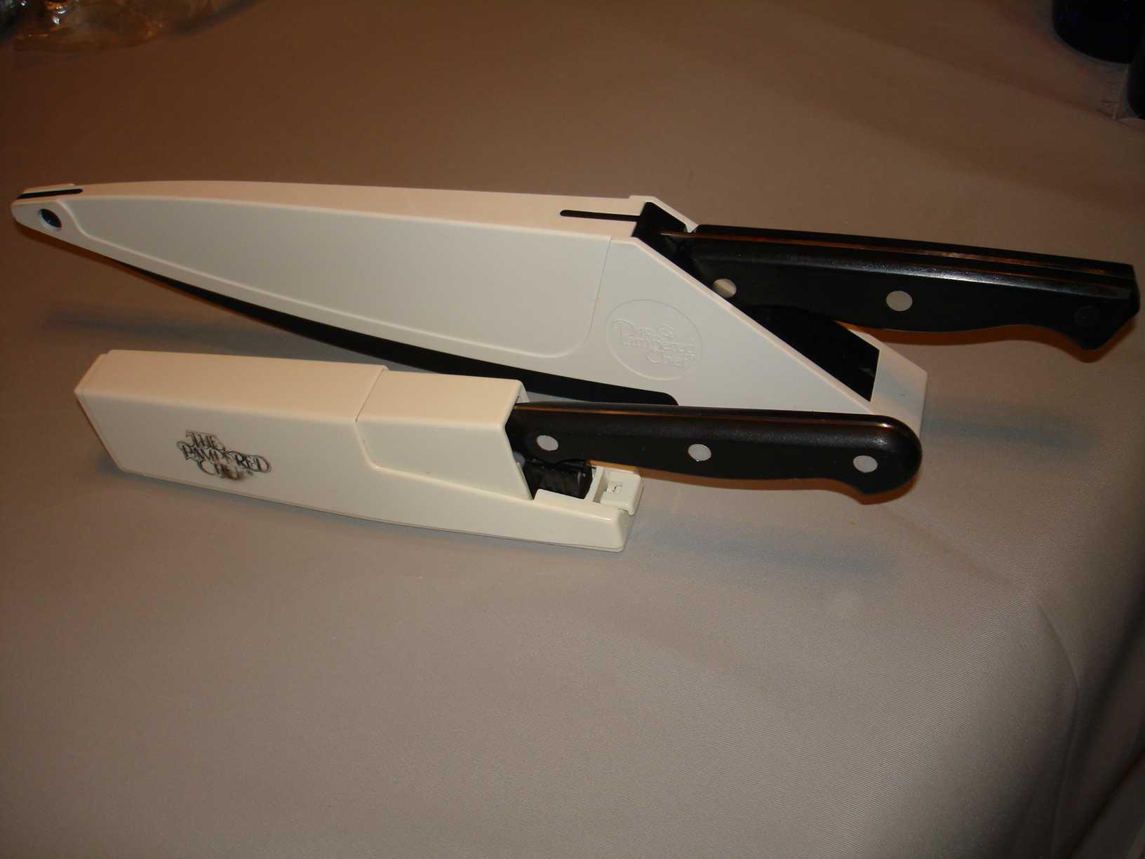 self sharpening kitchen knife good set pampered chef 8 quot and 5 utility knives w