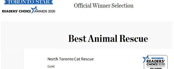 NTCR, the Best Animal Rescue GOLD WINNER, Toronto Star Reader's Choice 2020!!!