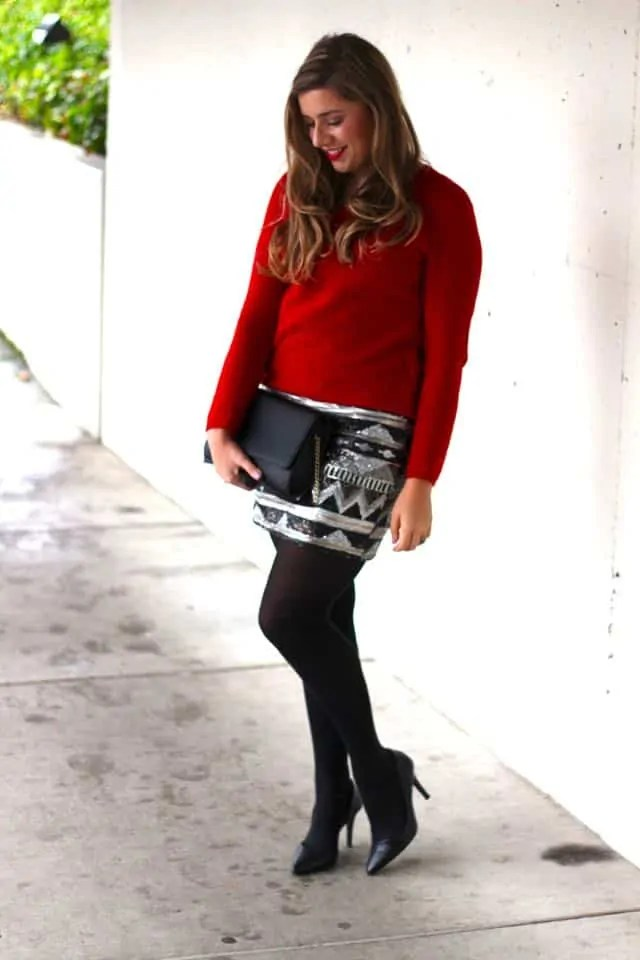 sequin mini skirt - winter fashion - holiday style
