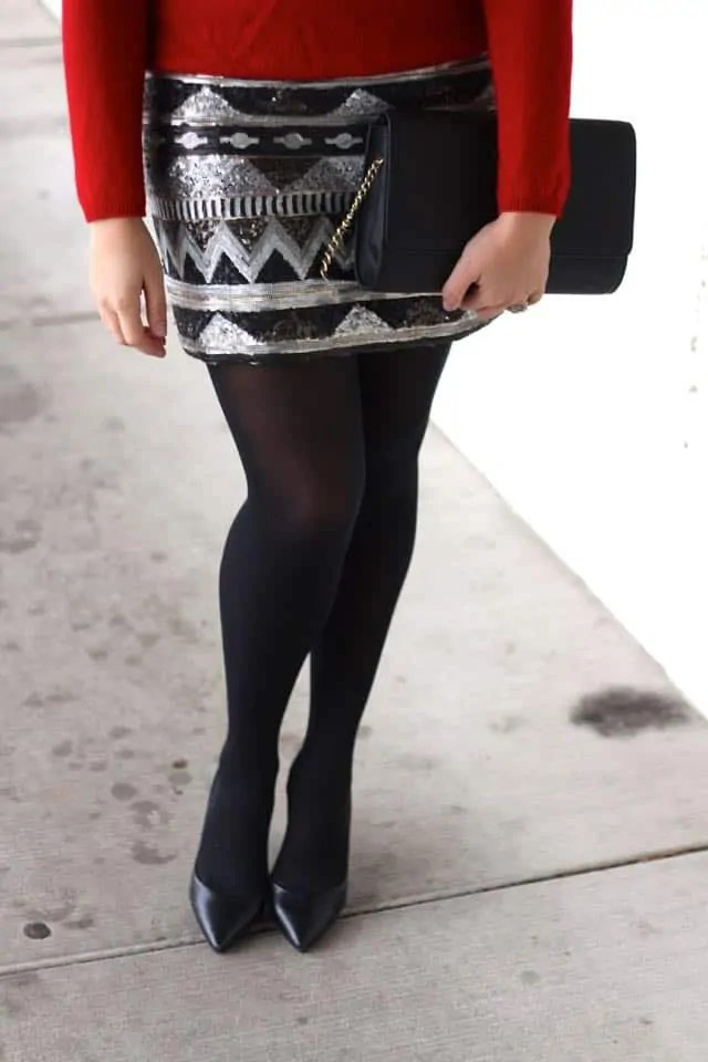 sequin mini skirt for the holidays - winter style - holiday party style