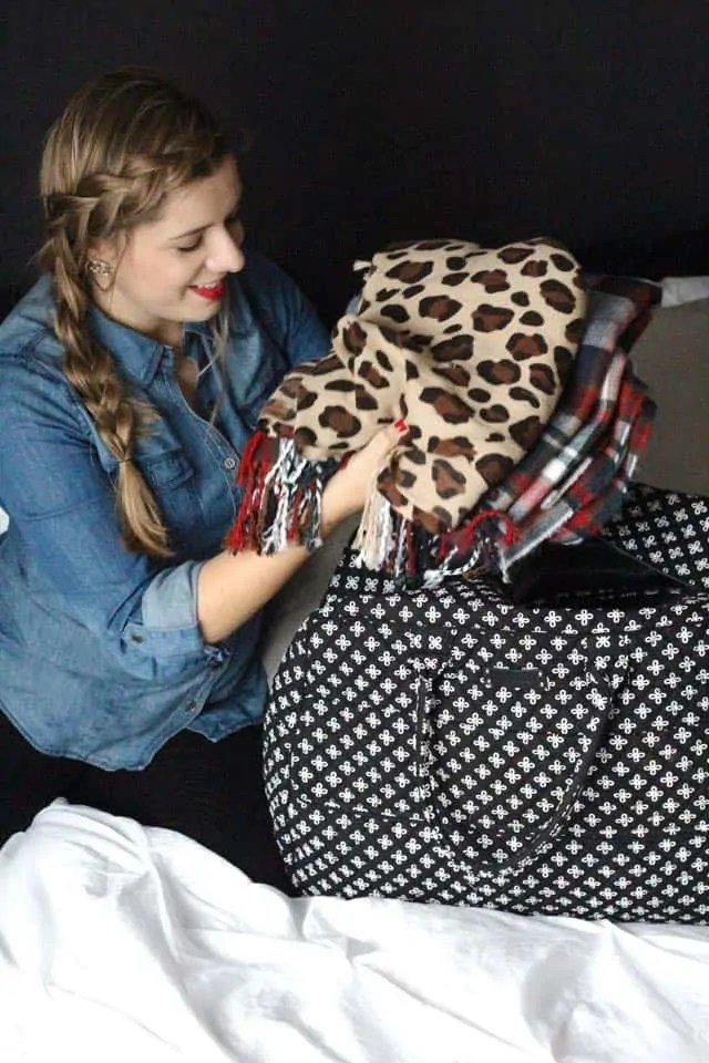 What to pack for winter travel - Vera Bradley Weekender bag
