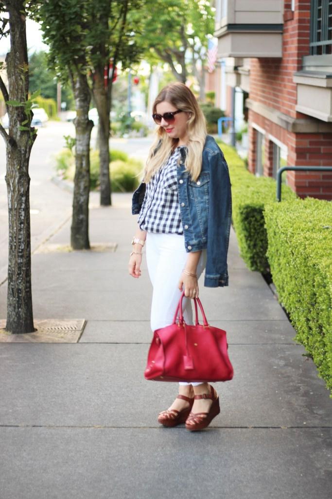paige white jeans - YSL bag - Frye platform