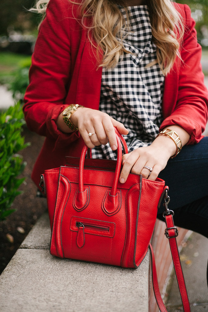 red celine nano luggage tote look alike