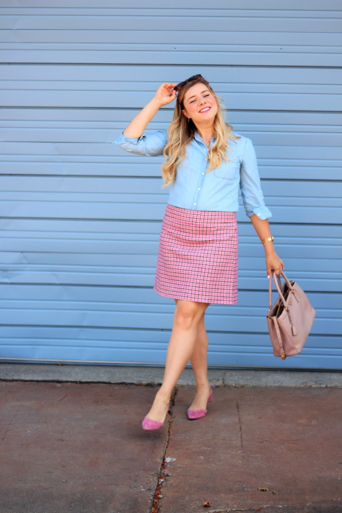 how to wear pink - J.Crew mini skirt - Prada Saffriano