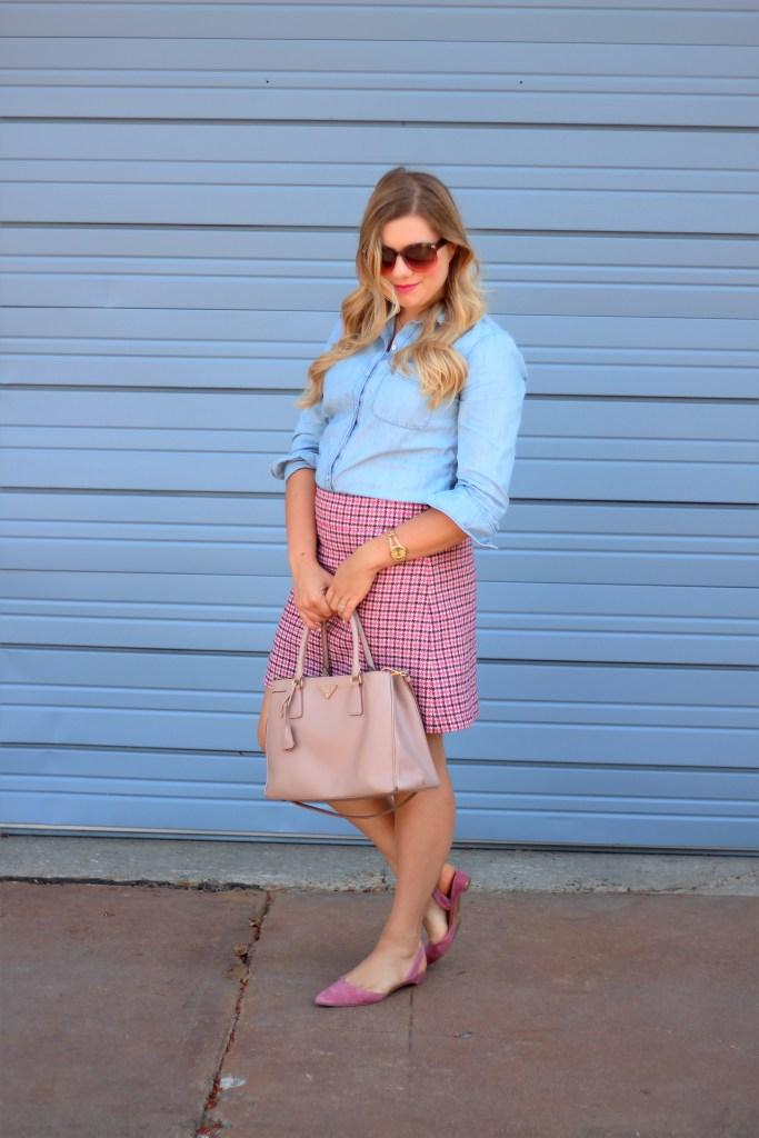 how to wear pink - J.Crew mini skirt - Prada Saffriano