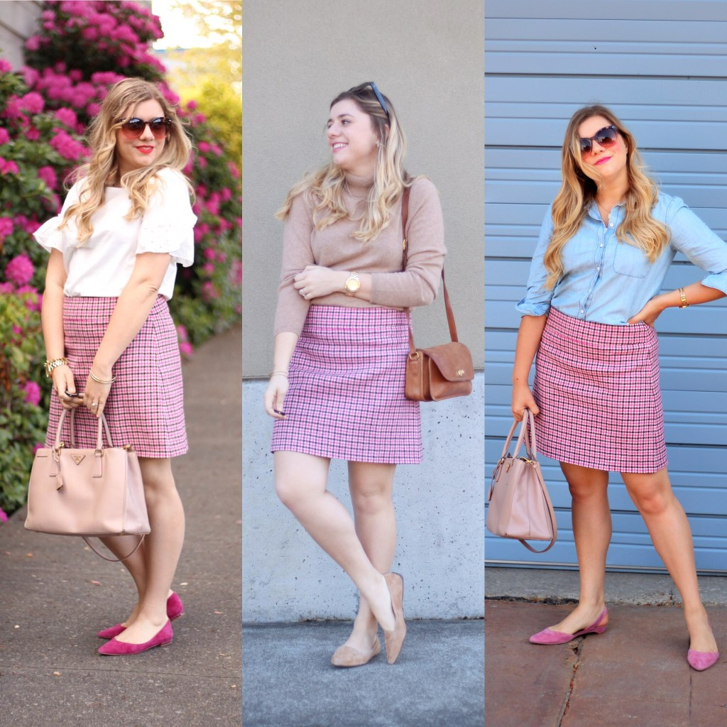 1 skirt, 3 ways - j.crew mini skirt - pink mini skirt - houndstooth skirt