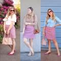 1 skirt, 3 ways - j.crew mini skirt - pink mini skirt - houndstooth skirt