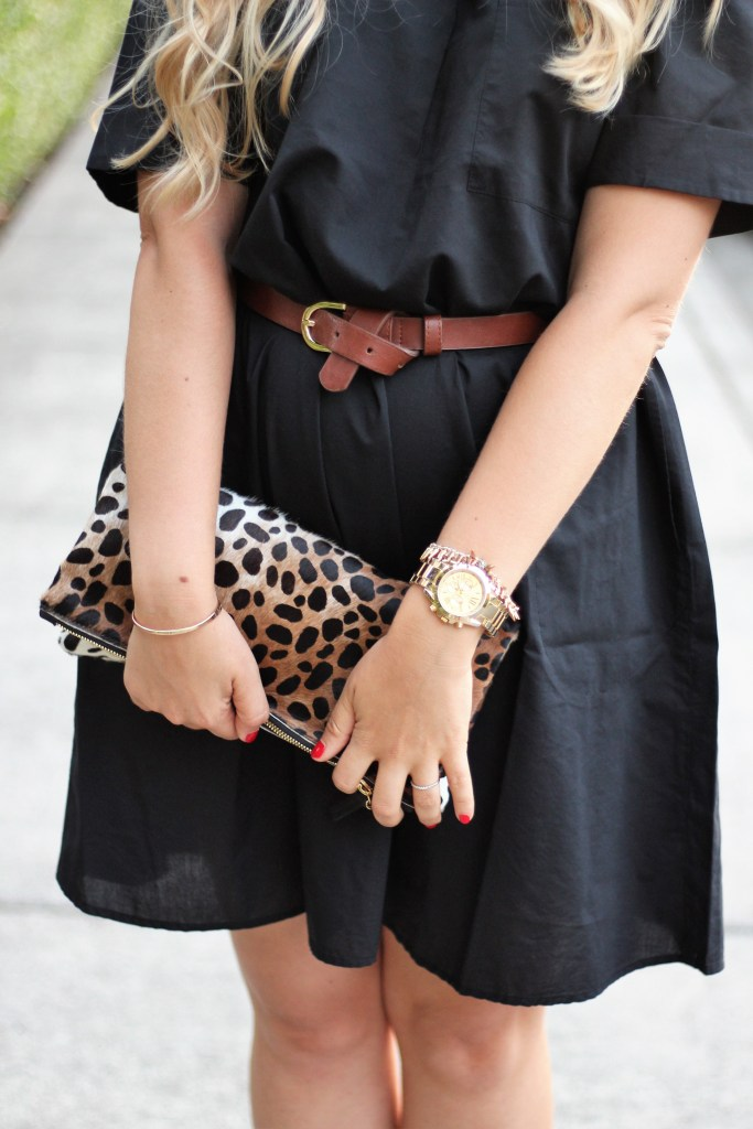 clare v leopard clutch - charming charlie watch - charming charlie bangles
