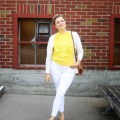 how to wear white jeans with confidence - paige denim verdugo ankle - J.Crew ruffle sweate