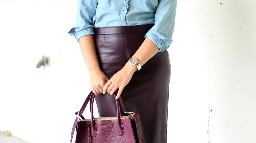 cute office outfit - leather skirt for work - how to wear chambray to work - 20 something work wear