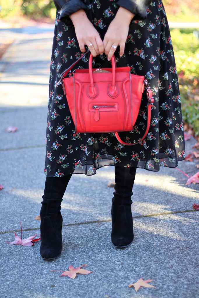 best stores for holiday shopping - wear floral in fall - the stockplace - red celine nano look alike - stuart weitzman higland - otk boots short girl- cute fall outfit - maxi dress in fall