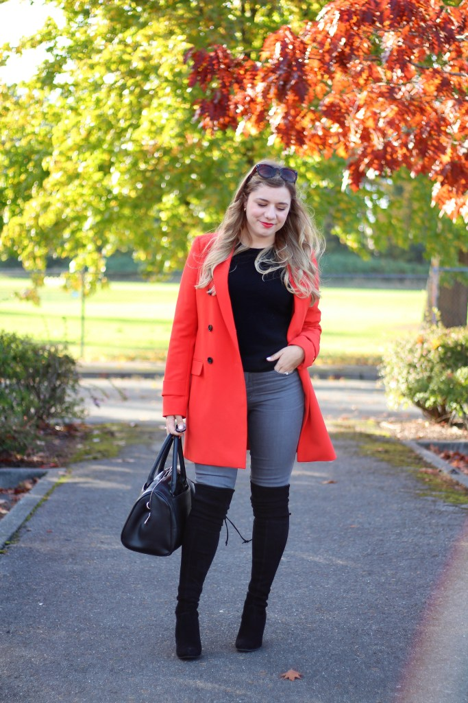 colorful coats under $150 - fun winter coats - ann taylor coat - stuart weitzman highland - easy fall outfit - chic cold weather style