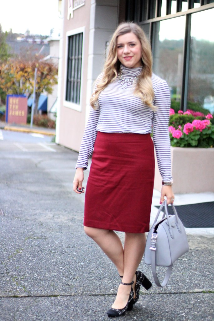 ways to wear burgundy - maroon outfit ideas - winter outfit ideas - winter work outfit