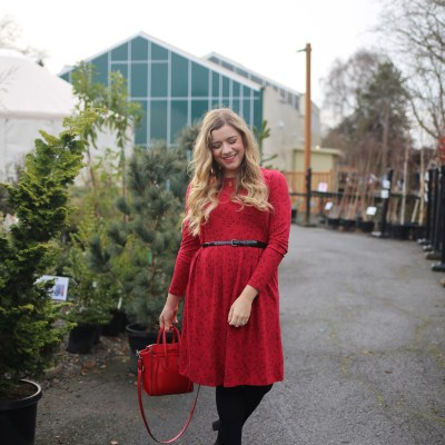 what i learned wearing red for 12 days - j.jill dress - christmas outfit idea - cute and warm winter outfit