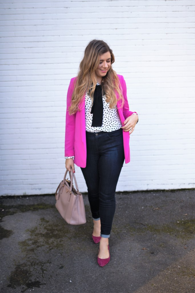 dressing for joy - j.jill denim leggings - pink valentines outfit for work - business casual valentines day outfit