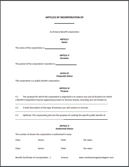 Locate the form that you would like to submit. Arizona Benefit Corporation Articles Of Incorporation
