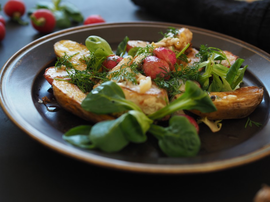 Pan-Seared Fish & Radish Salad with Slow Fried Potatoes