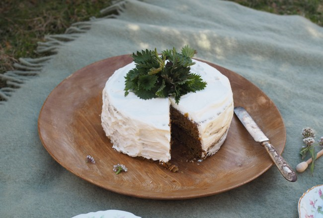 Nettle and Honey Cake with Almond Cream