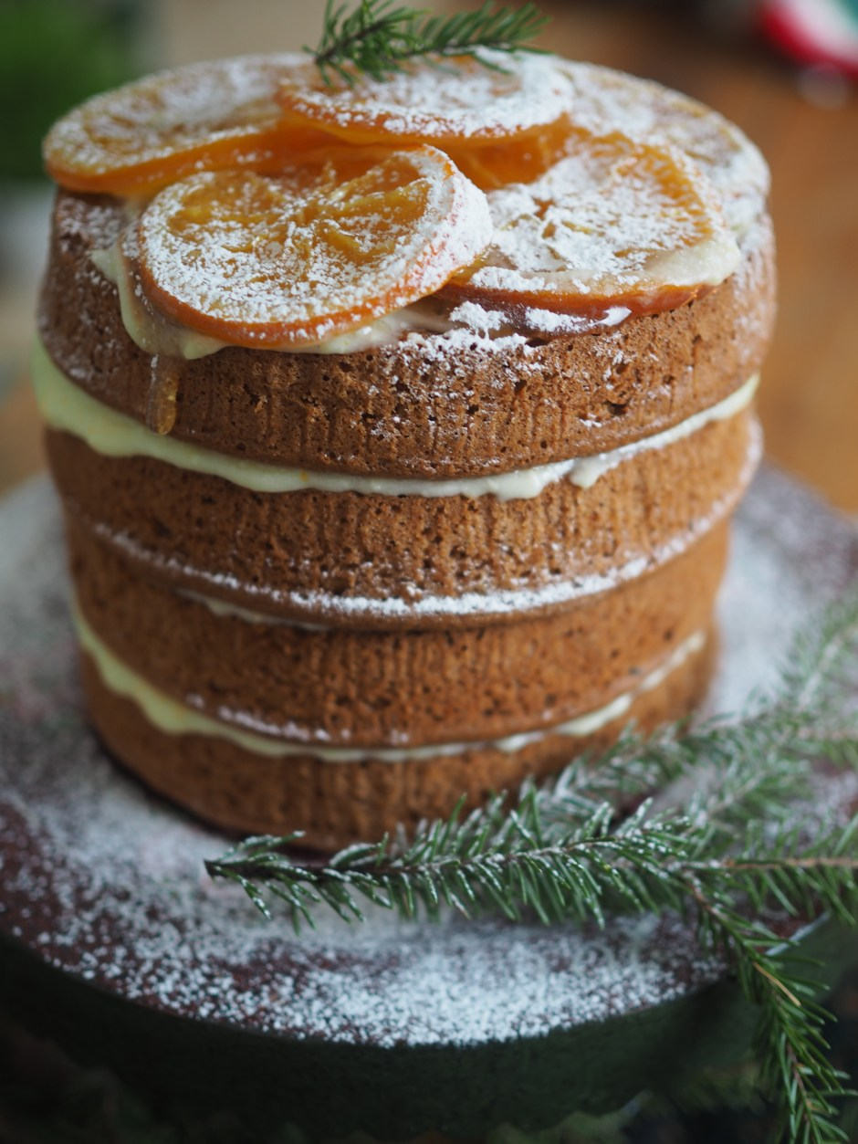Norwegian Sirupskake (Layered Spice Cake with Candied Oranges and Orange Frosting)