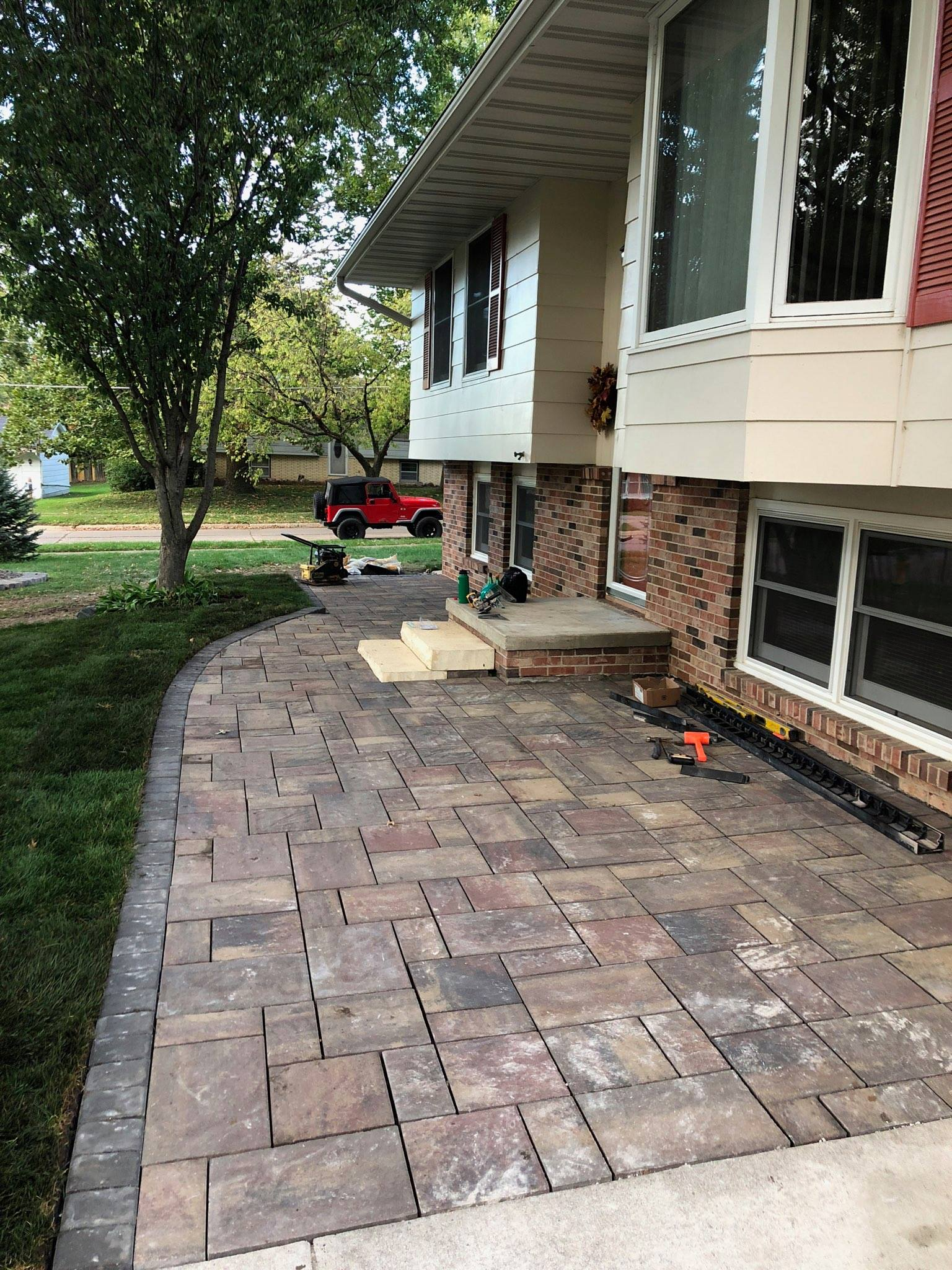 front porch patio with charcoal accent