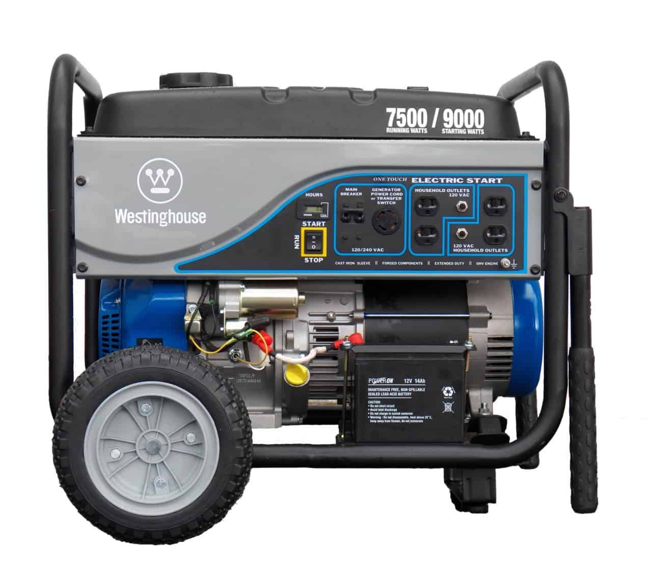 hight resolution of westinghouse 7500 watt electric start portable generator wh7500e norwall powersystems