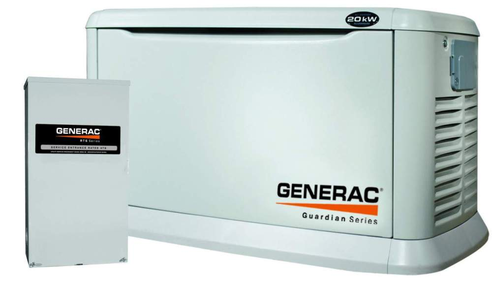 medium resolution of 20kw generac guardian 5875 20kw standby generator aluminum pre packaged w 200 amp service rated automatic transfer switch