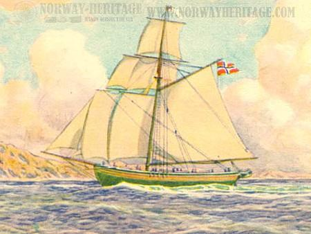 The sloop Restauration brought the first Norwegian emigrants to the U.S. in 1925.