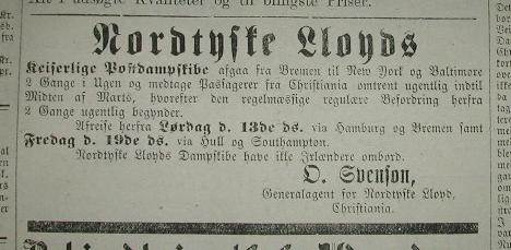 The Norddeutscher Lloyd  Passenger lists and Emigrant ships from NorwayHeritage