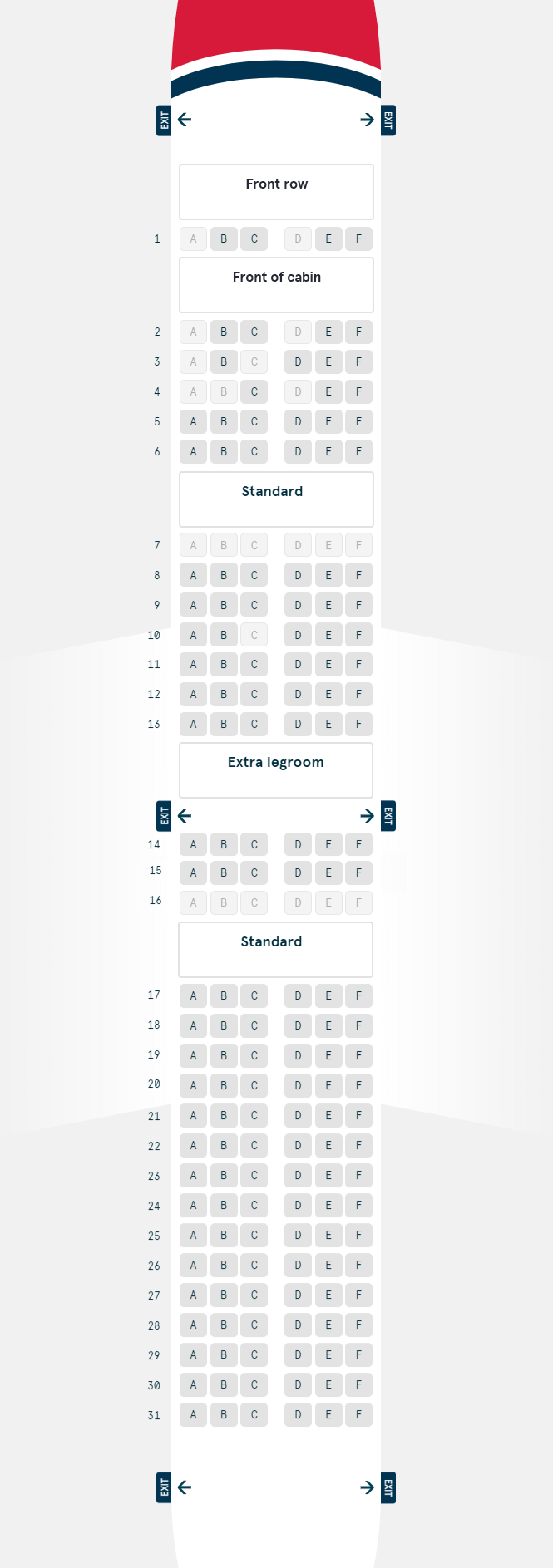 Boeing 737 800 Seating Plan Singapore Airlines