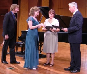 Consul General Seim (R) handing out prizes for the Young Artist Competition. Photo: Grieg Festival Committee.