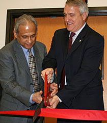 OFFICIAL OPENING: The new 145,000-square-foot (13,500-square-meter) facility was officially opened by Colorado's governor, Bill Ritter (right), and Dr. Mohan Misra, Ascent Solar's chairman and CEO.