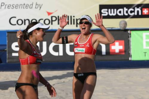 ngrid Torlen (right) and Nila Hakedal of Norway celebrate a point in the opening match of the 2009 World Championships in Stavanger, Norway on June 25, 2009. By FIVB
