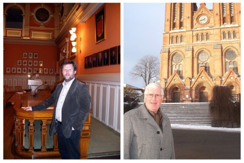 Left: Vice Mayor Geir Arild Tønnessen, shown here in the Skien City Hall, says Skien sees a return on its investment in its relationship with Minot, N.D. Right: Rolf Haugen, a Skien attorney, has made so many trips to Minot, North Dakota, that he was named a North Dakota honorary ambassador last year.