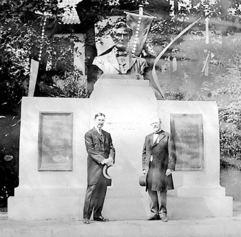 This historic photo shows Gov. Louis Hanna and Smith Stimmel in front of the Abraham Lincoln statue in Oslo, Norway, The photo was contributed by Gustav and Dorthea Renden. Courtesy of Grand Forks Herald.