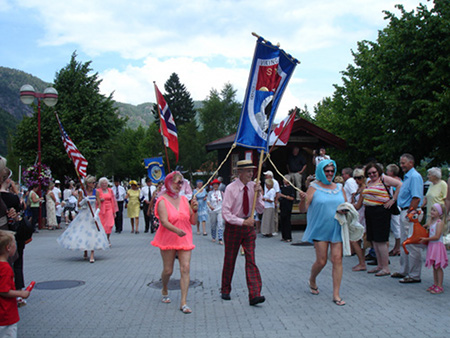 The parade in Kvinesdal is festive and colorful. Photo: norway.usembassy.gov.