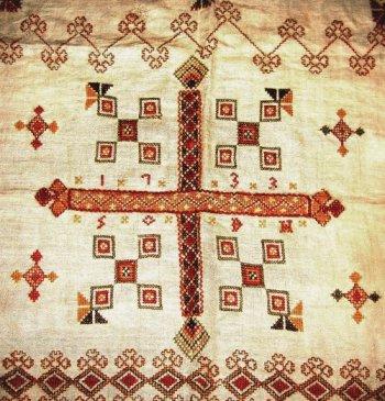 Detail of a basket cloth (sendingsklede), Telemark, Norway, 1733.  Courtesy of Telemark Museum, Skien, Norway.