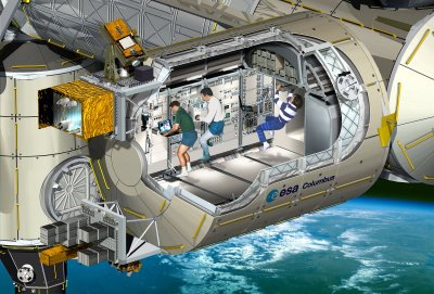 An artist's impression of Columbus, a cutaway view, the European laboratory module of the International Space Station. Image Credit: ESA / D.Ducros