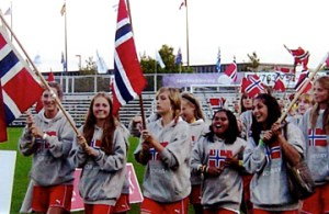 Norwegian teams led the parade of 13,000 soccer players at opening ceremonies at the USA Cup. Photo: Arne Morkemo